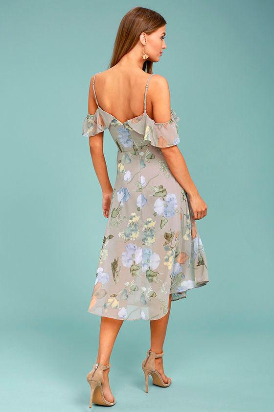f9a8a57e37 Lost + Wander Penelope Dress - Grey Floral Print Dress - Midi Dress ...