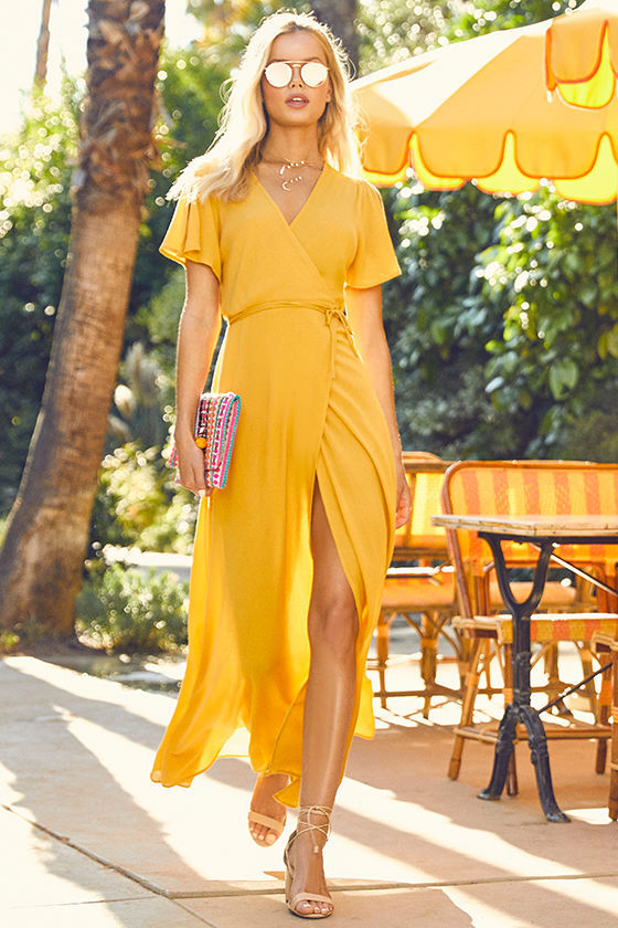 Lovely Golden Yellow Dress - Wrap Dress - Maxi Dress - $67.00