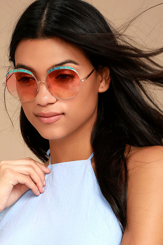 Crap Eyewear The Cloud Magic Turquoise and Rose Gold Sunglasses 1