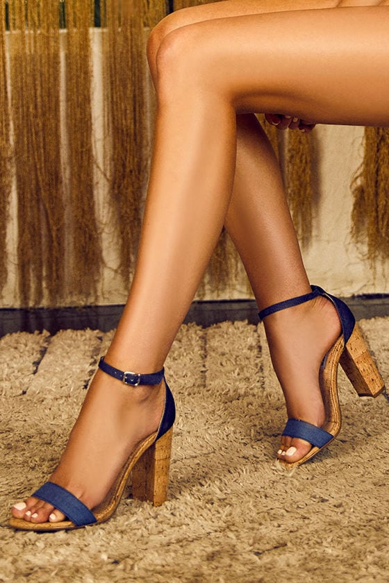 Steve Madden Carson C Denim Cork Ankle Strap Heels 2