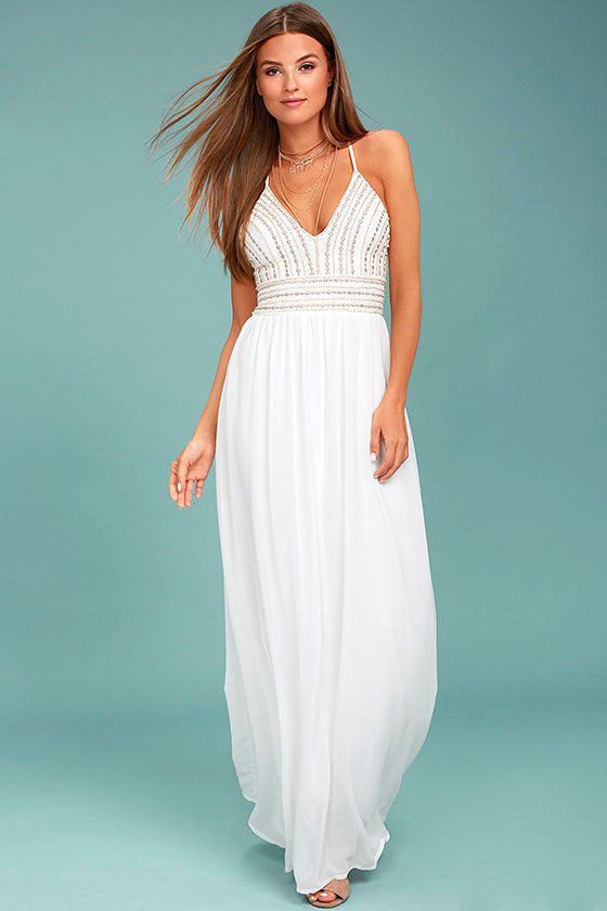 Meet Me in Madrid White Beaded Maxi Dress 1