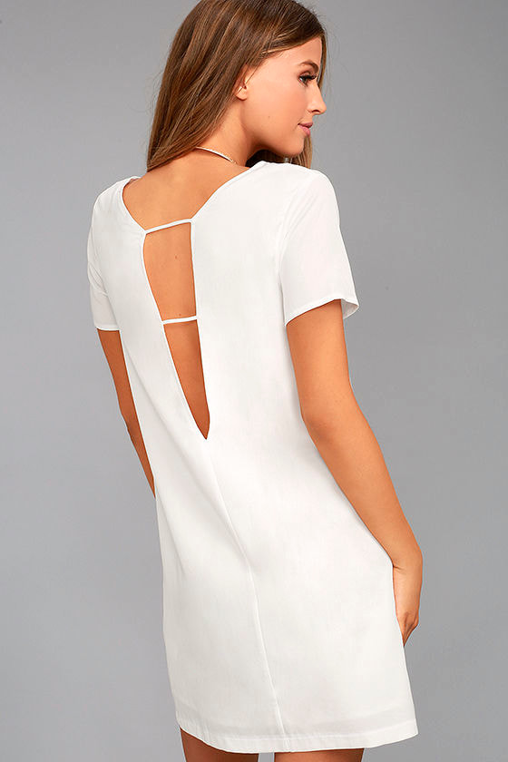 Chic White Dress Shift Dress Short Sleeve Dress 49 00