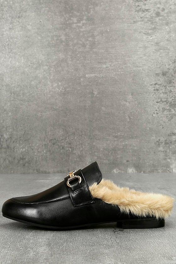 Steve Madden Jill Black Leather Faux Fur Loafer Slides 1