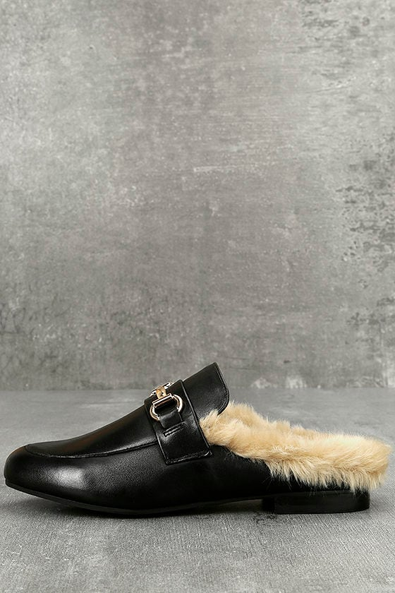 58c4e53fa3e Steve Madden Jill Black Leather Faux Fur Loafer Slides
