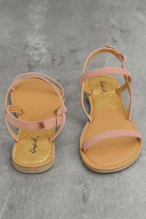 Rika Mauve Nubuck Flat Sandals 2