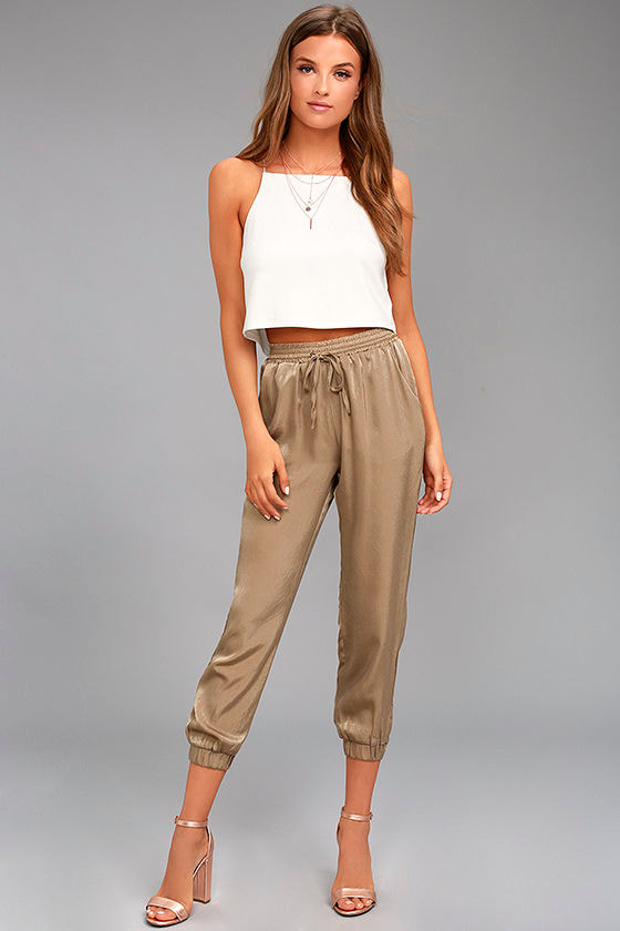 Smooth Moves Taupe Satin Jogger Pants 1