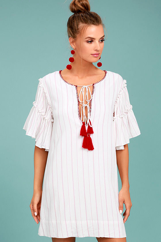Moon River Johnny Red and White Striped Shift Dress 1