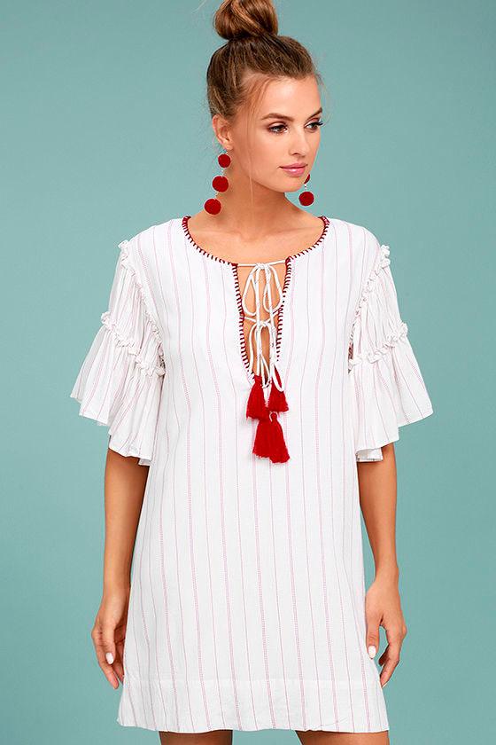 3a00f680cfc Cute Red and White Dress - Striped Dress - Shift Dress -  71.00