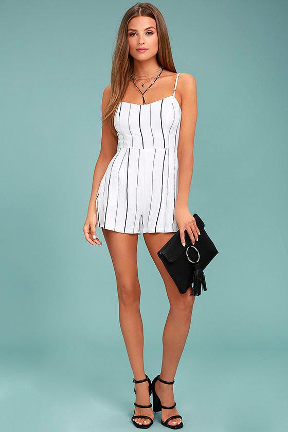 0b00bc77d742 Cute Black and White Romper - Striped Romper - Sleeveless Romper ...