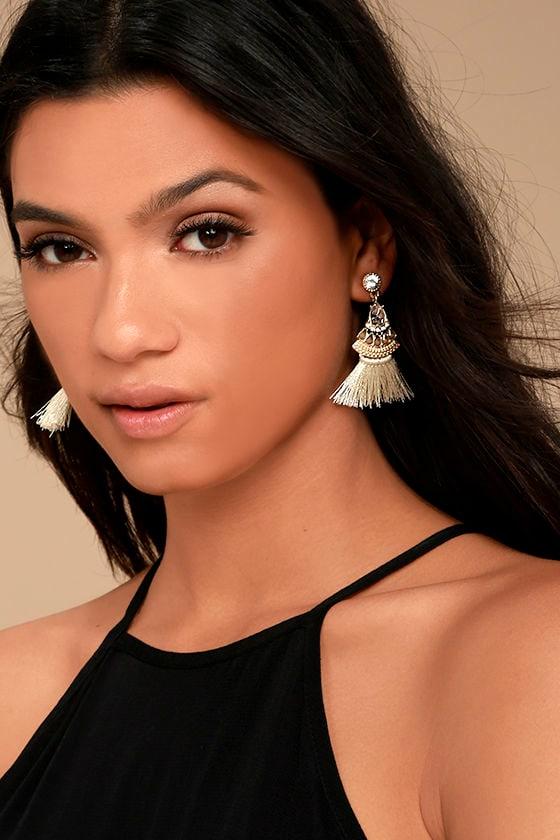 Tuscan Sun Gold and Beige Rhinestone Tassel Earrings 1
