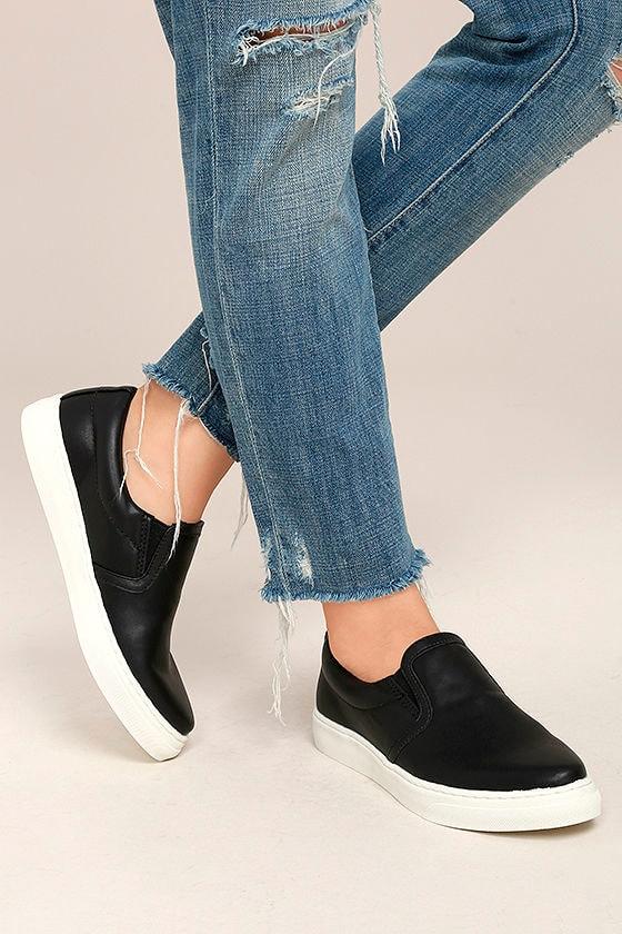 Trendy Black Sneakers - Slip-On Sneakers - Vegan Leather Sneakers ... 4f43c5d82