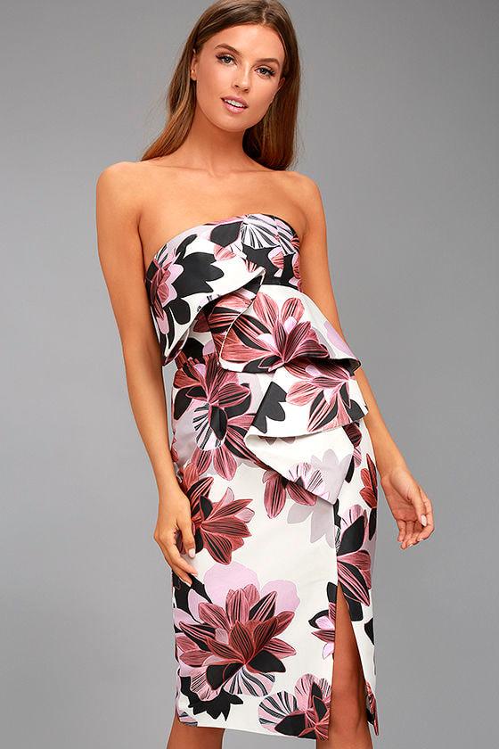 67bcab161e3 Keepsake Awake - White Floral Print Dress - Ruffle Dress - Midi Dress