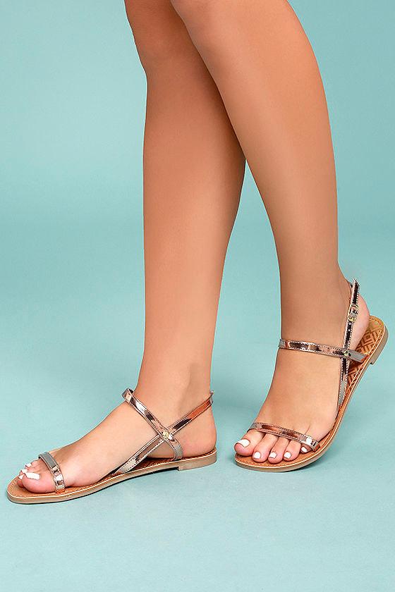 Cute Flat Sandals Rose Gold Sandals Vegan Sandals 17 00