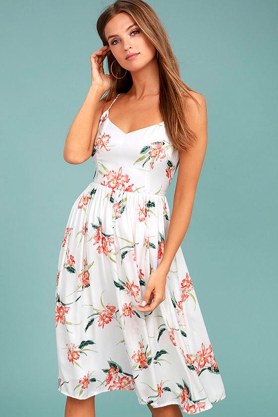 7492310c2ce BB Dakota Lila - White Dress - Floral Print Dress - Midi Dress -  91.00