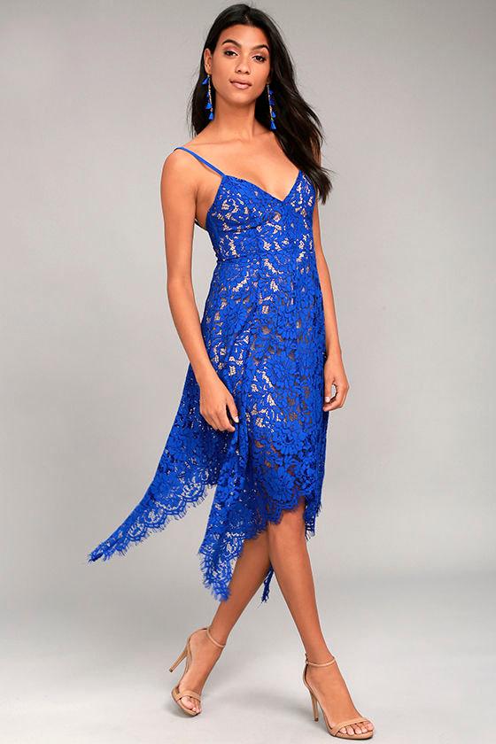 Lovely Royal Blue Lace Dress - Midi Dress - Handkerchief ... - photo #2
