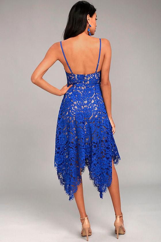 Lovely Royal Blue Lace Dress - Midi Dress - Handkerchief ... - photo #3
