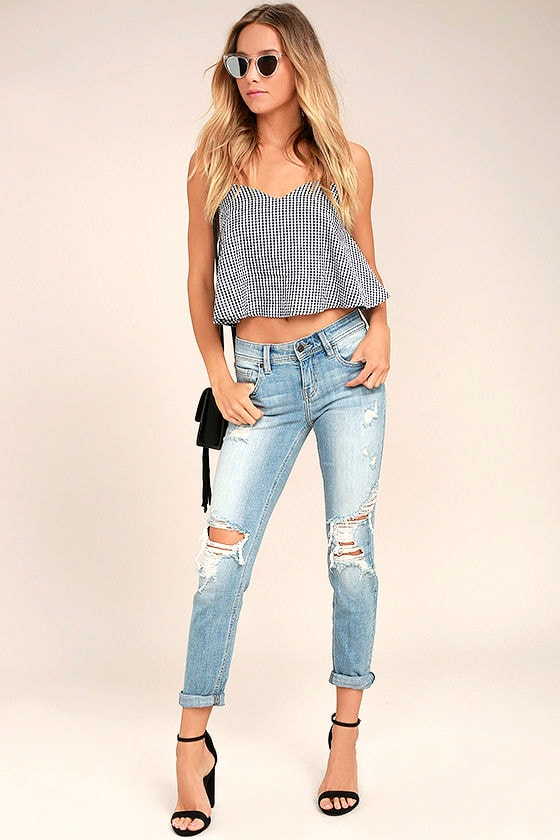 Mia Light Wash Distressed Skinny Jeans 1