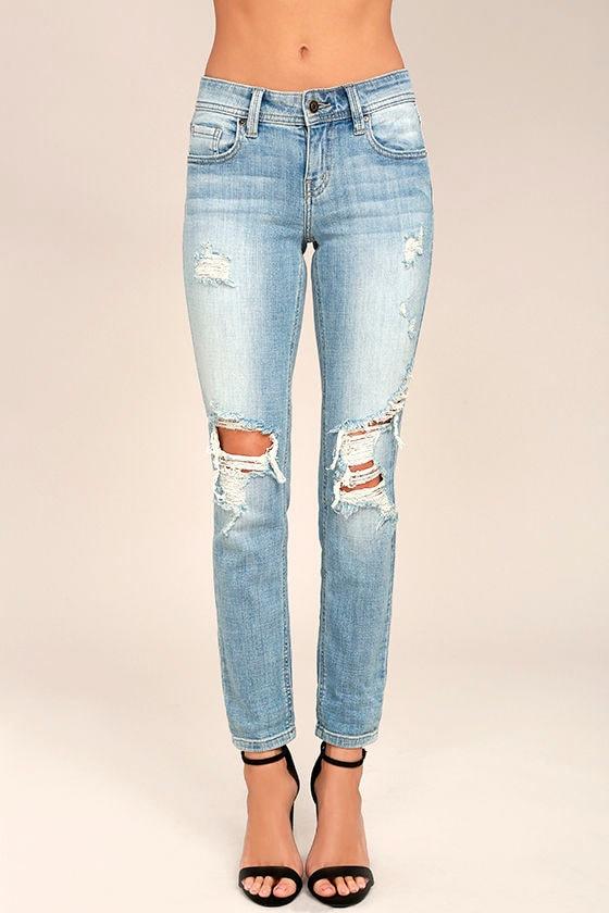 mia light wash distressed skinny jeans torn jeans jeans #13
