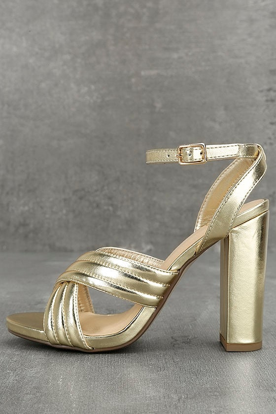 Genevieve Gold Ankle Strap Heels 1