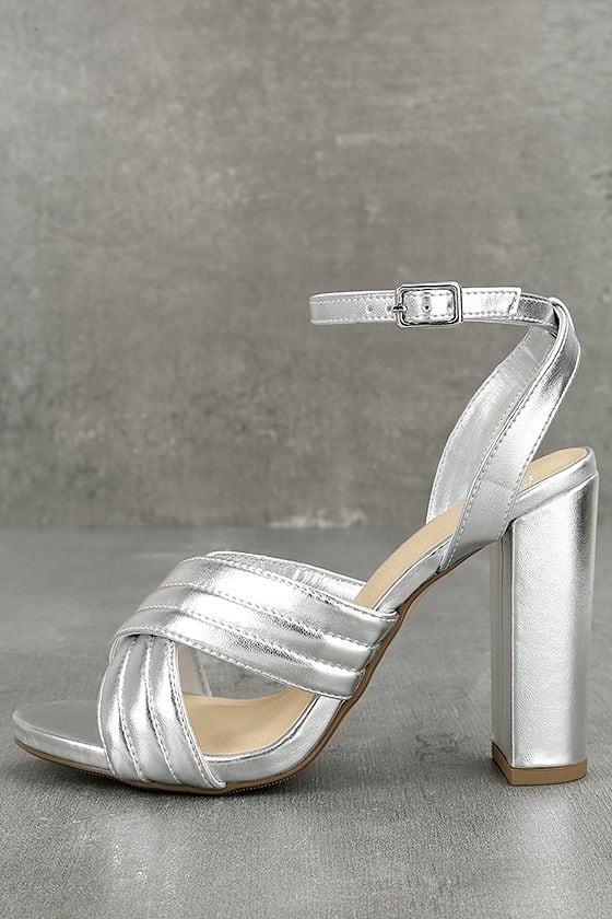 pretty silver heels ankle strap heels vegan leather