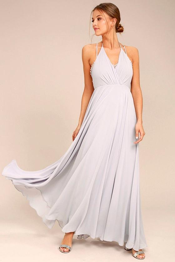 Celebrate the Moment Grey Lace Maxi Dress 1