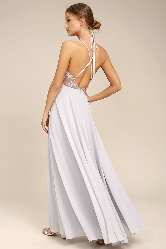 Celebrate the Moment Grey Lace Maxi Dress 2