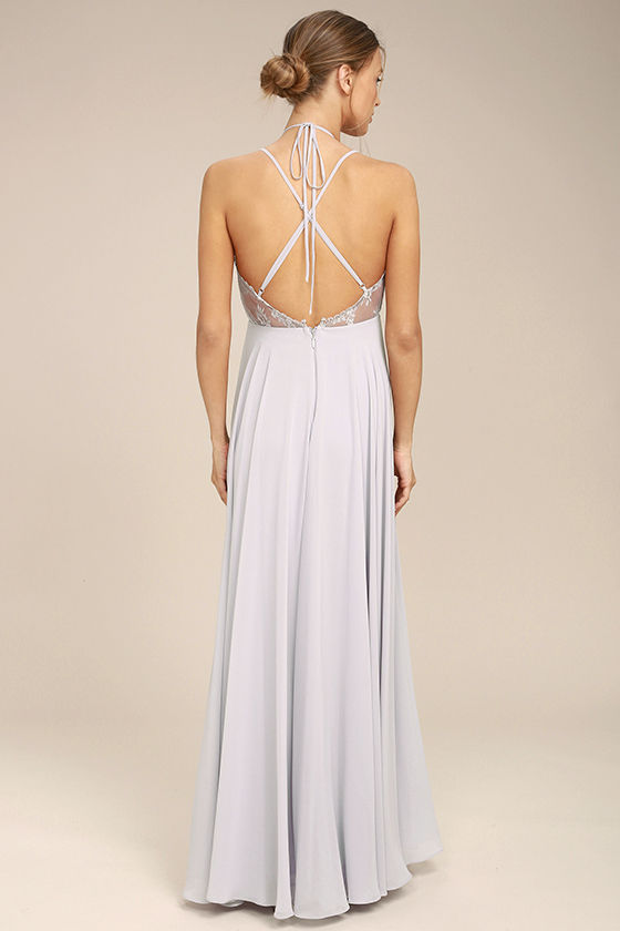 Celebrate the Moment Grey Lace Maxi Dress 3