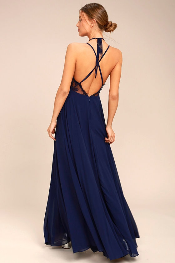 Celebrate the Moment Navy Blue Lace Maxi Dress 2