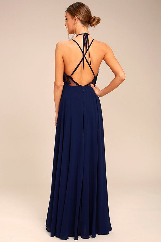Celebrate the Moment Navy Blue Lace Maxi Dress 3