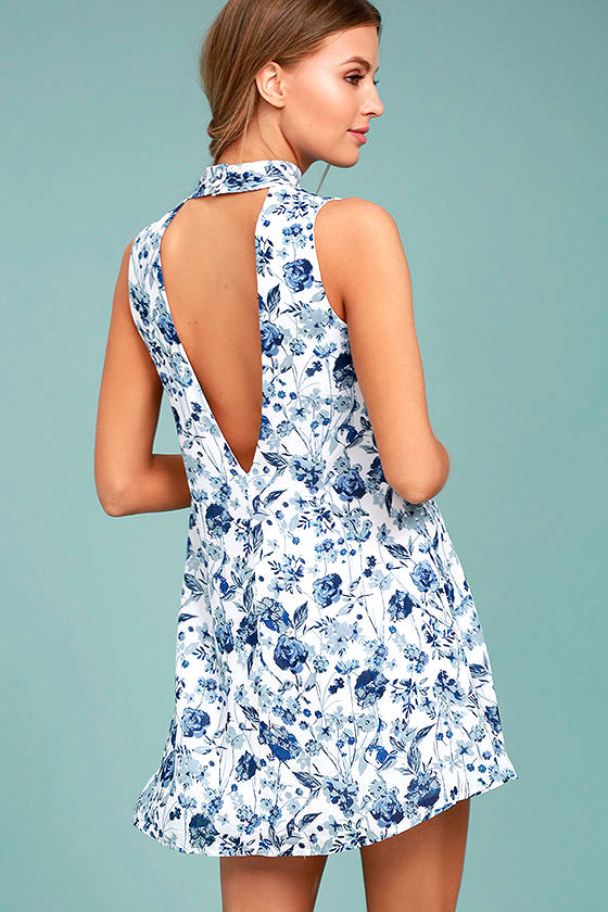 Cute Blue and White Dress - Floral Print Dress - Print Swing Dress ... cfb996621c63
