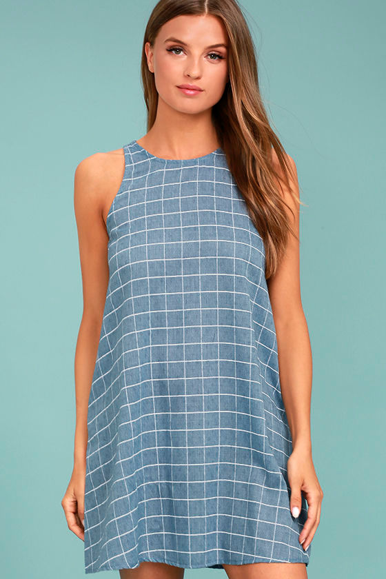 PPLA Off the Grid Denim Blue Print Dress 1