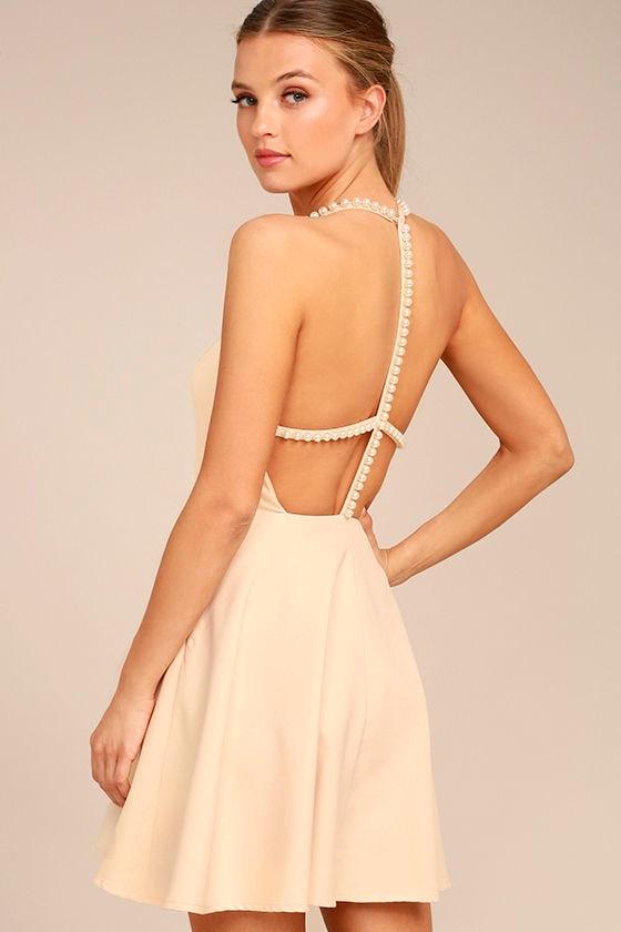 Stunning Skater Dress - Beige Skater Dress - Faux Pearl Dress -  66.00 0e1e02fdf