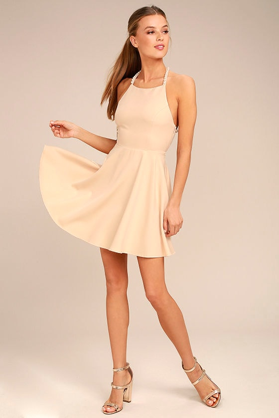 Adore You Beige Pearl Skater Dress 2