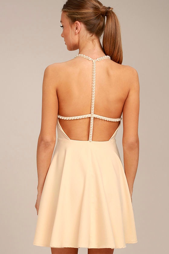 Adore You Beige Pearl Skater Dress 3
