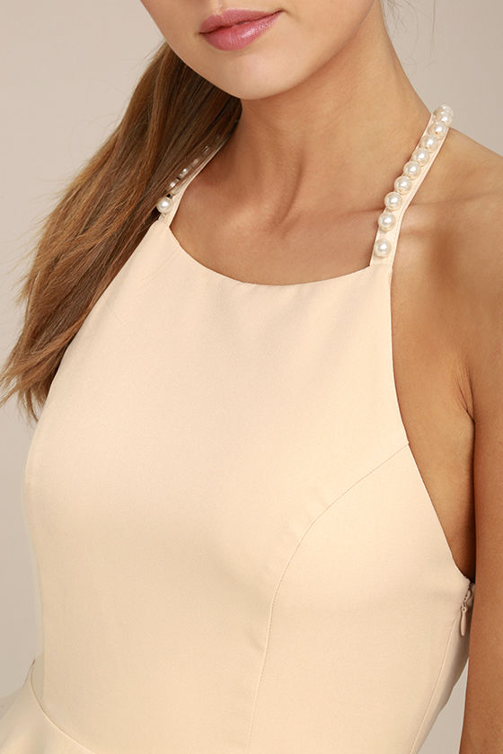 Adore You Beige Pearl Skater Dress 4