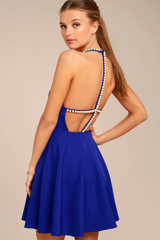 Adore You Royal Blue Pearl Skater Dress 1