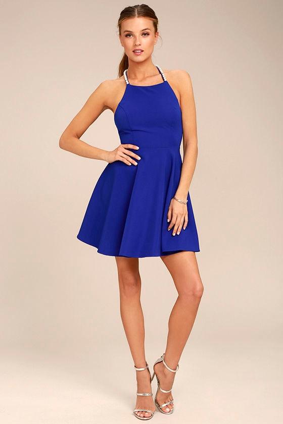 Adore You Royal Blue Pearl Skater Dress 2
