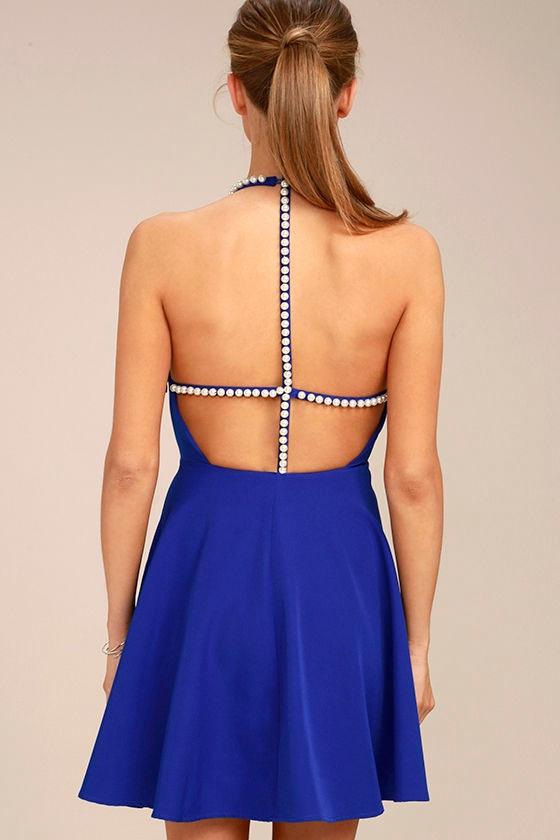 Adore You Royal Blue Pearl Skater Dress 3