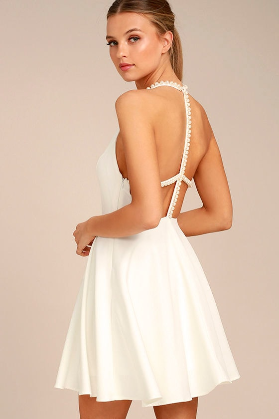 Adore You White Pearl Skater Dress 1