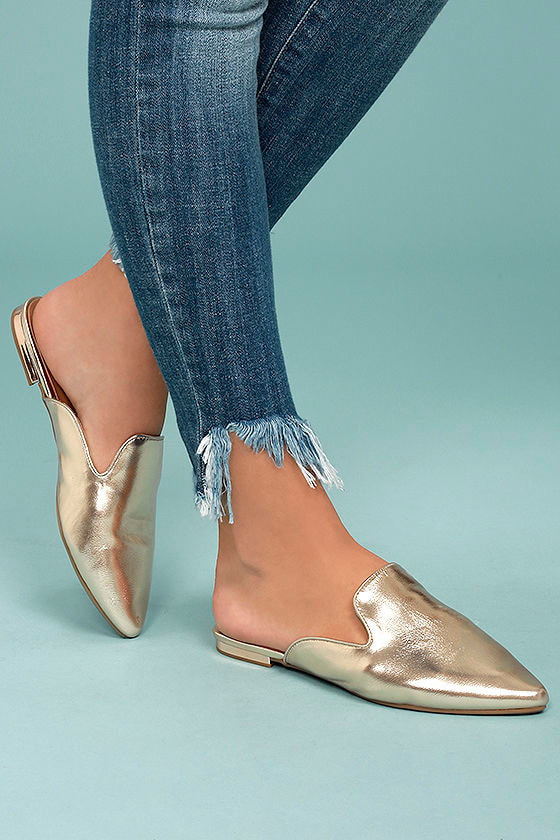 Ember Gold Loafer Slides 1