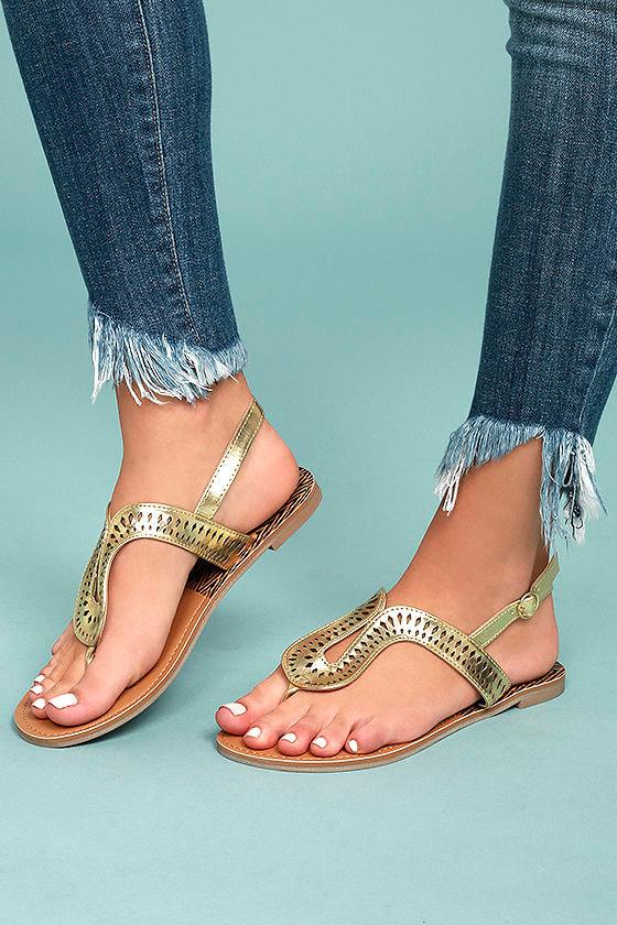 144c7784ab9e Cute Gold Sandals - Laser Cut Sandals - Vegan Sandals -  19.00