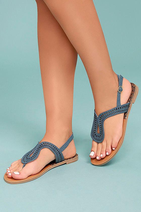Libby Denim Blue Thong Sandals 1