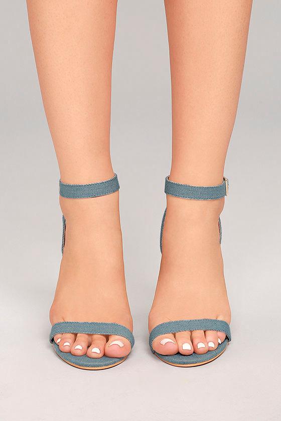 337af8f12ca Chic Ankle Strap Heels - Light Denim Heels - Engraved Block Heels ...