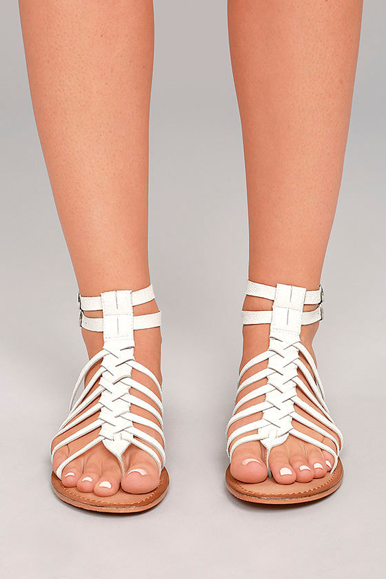 98163ab9f38 Naughty Monkey Boardwalk - White Leather Sandals - White Gladiator ...