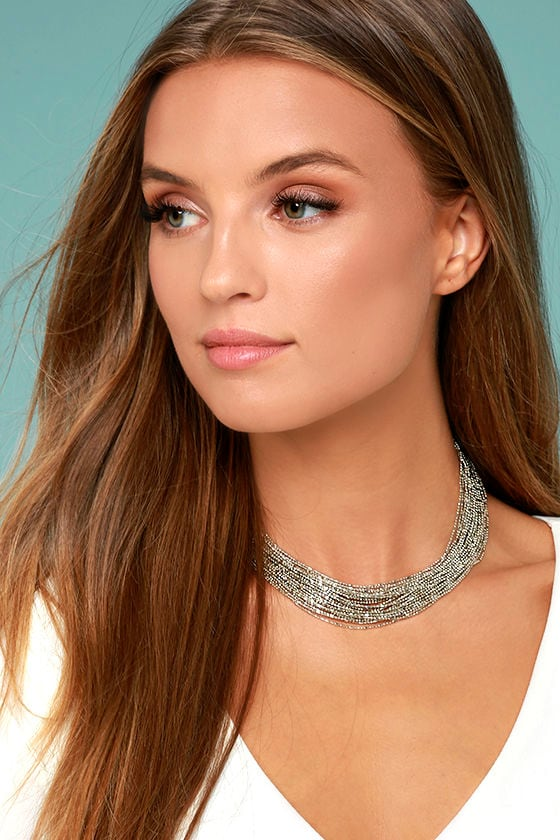 Love Bug Silver Layered Choker Necklace 1