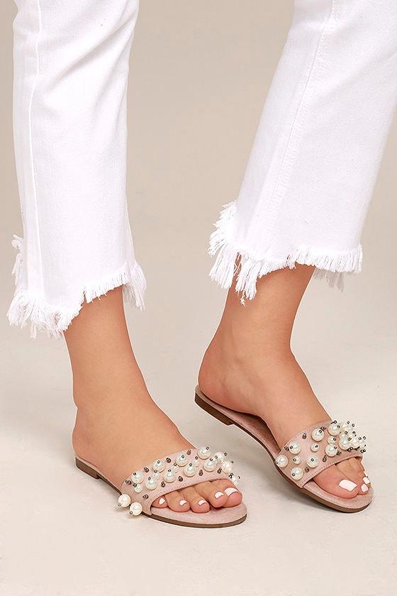 6d949c9137aa Chic Blush Pink Suede Sandals - Suede Slide Sandals - Faux Pearl Sandals -   24.00