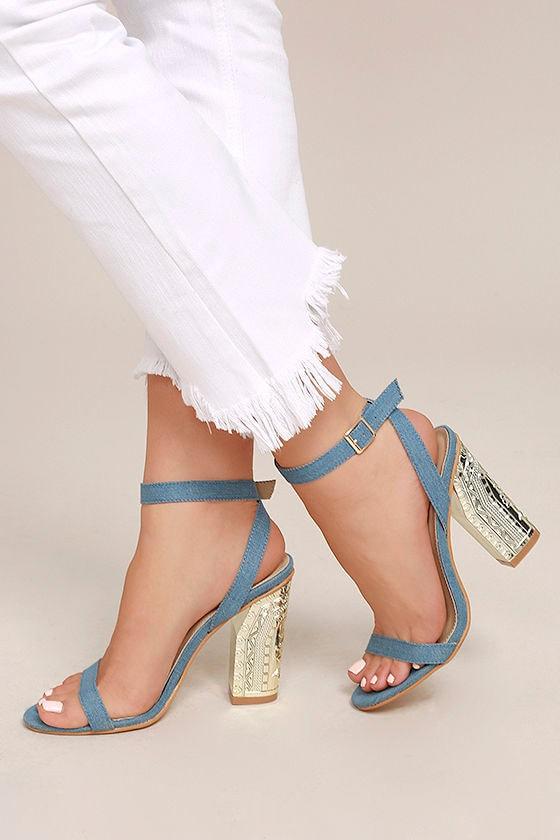 d23b8f2abf4 Chic Ankle Strap Heels - Light Denim Heels - Engraved Block Heels -  47.00