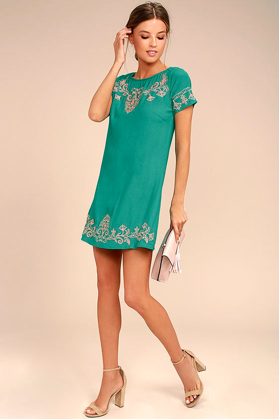Tale to Tell Pink and Teal Green Embroidered Shift Dress 2
