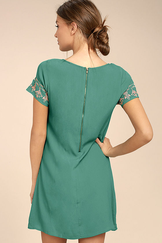 Tale to Tell Pink and Teal Green Embroidered Shift Dress 3