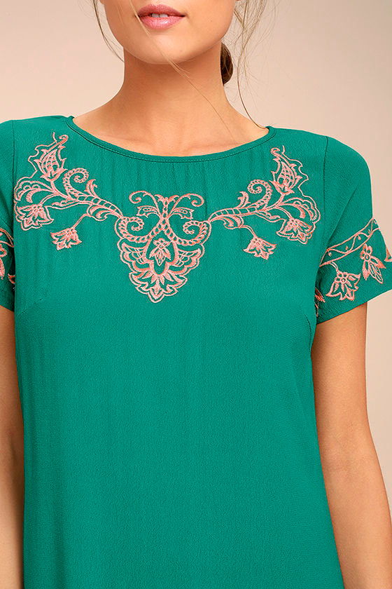Tale to Tell Pink and Teal Green Embroidered Shift Dress 4